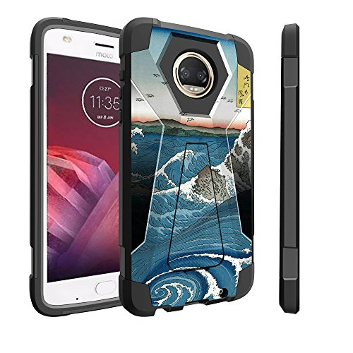 Untouchble Case for Motorola Moto Z2 Play Hard Case| Moto Z2 Force Case [Traveler Series]- Dual Layer Hard Plastic Inner Silicone Stand Case - Zen Wave