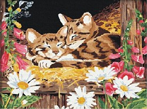 YEESAM ART New DIY Paint by Number Kits for Adults Kids Beginner - Deer, Sleeping Cats 16x20 inch Linen Canvas - Stress Less Number Painting Gifts (With Frame)