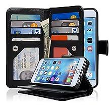 NAVOR® Detachable Magnetic Housing Flip Wallet Case for iPhone 6 / 6S [4.7 Inch] - Black (IP63BK)