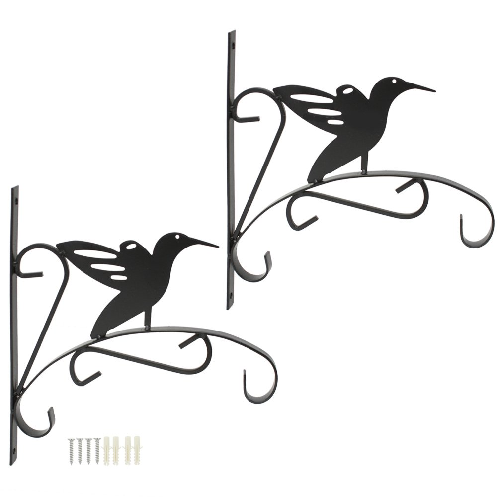 COM-FOUR 2x Butterfly wall bracket made of powder-coated iron for hanging baskets and wind chimes, with screws and dowels, 30.5 x 26.5 x 1.5 cm (02 piece - butterfly)