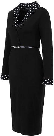beautyjourney Vestido de Trabajo de Falda de lápiz Delgado para Mujer Vestidos de Fiesta de Manga Larga con Cuello en V y Oficina Vestido Ajustado hasta la Rodilla
