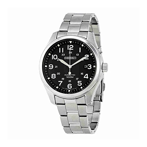 Seiko Kinetic SKA721 Black Dial Stainless Steel Band Men's Watch (Seiko Kinetic Military)