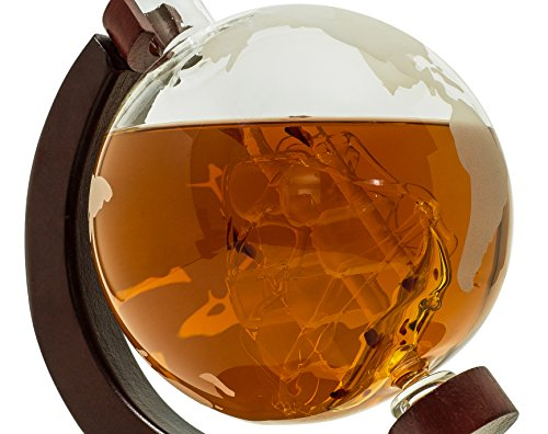 BarMe 850ml Whiskey Globe Decanter with Dark Finished Wood Stand and Bar Funnel by BarMe (Image #5)