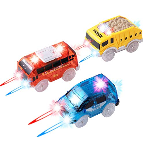Track Cars Replacement Only Light Up Toy Cars with 5 Flashing LED Lights Toys Racing Car Track Accessories Compatible with Most Tracks for Kids, Boys, Girls Best Gifts 3Pack