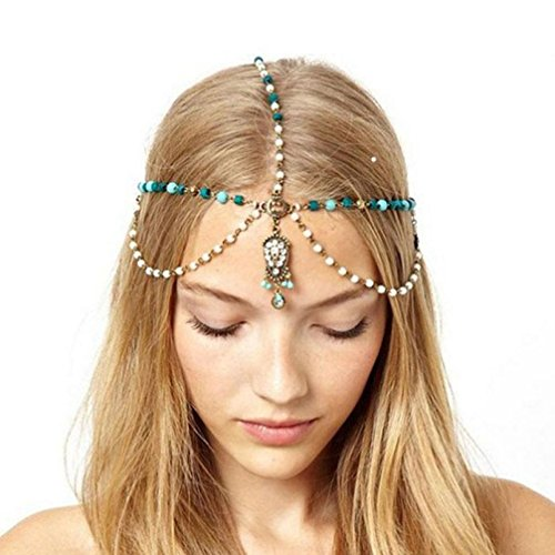 Molyveva Rhinestone Beaded Headband, Fashionable Handmade Crystal Beaded Hairbands with Turquoise for Lady Women Girls Hair Jewelry Accessories