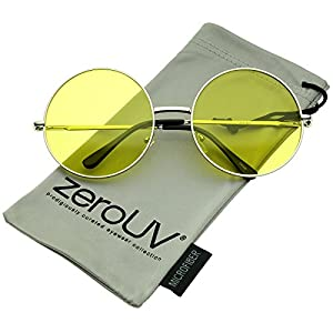 zeroUV - Super Oversize Slim Temple Colorful Lens Round Sunglasses 61mm (Silver / Yellow)
