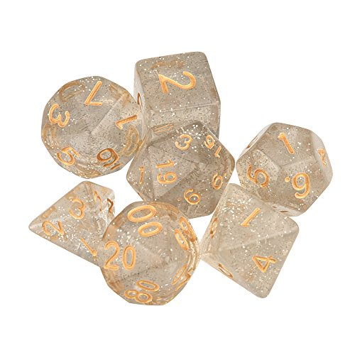 Set of 7 Dice Dungeons and Dragons Dice Set for D&D Dice Games RPG MTG Table Games Role Playing Game (Clear) ()
