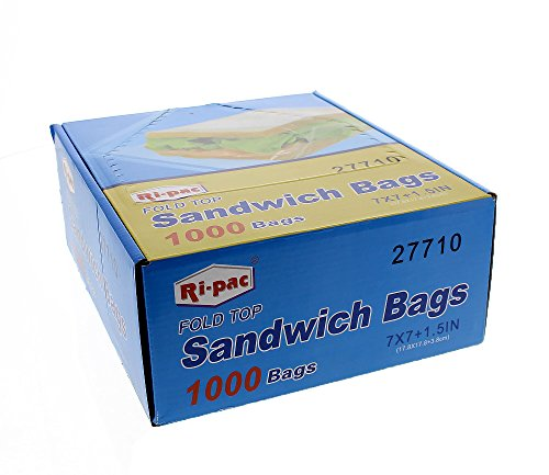 Ri Pac Fold Top Sandwich and Snack Bags- 7 x 1.5 x 7 inches - 1000 Count - Food Storage for Kids - Ri 7