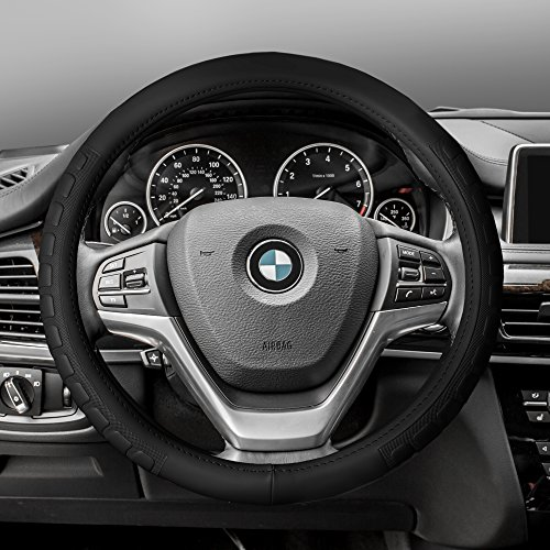 (FH Group FH2006BLACK Steering Wheel Cover (Microfiber Embossed Leather Black))
