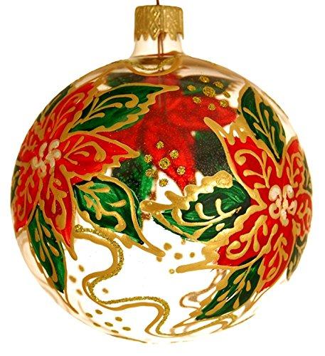 Wise Elk Christmas Glass Ornament Poinsettia, Set of 2