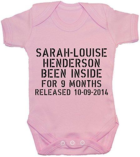 nascita a personalizzati 24 e data shirt Acce Prodotti per neonato Body T interno 0 nome di maglia Pink Un mesi 9 mesi pagliaccetto da con 1qB50W0w