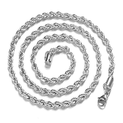 p Stainless Steel Silver Link Twist Necklace Jewelry by Kimloog (30'', Silver) ()