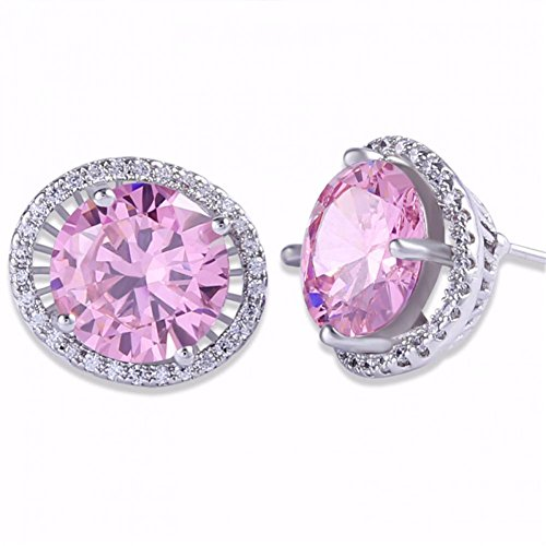 Jewels for Women Pink az Earings 18k White Gold Plating Chic Lady Stud Earring Orecchini Estate E045c (Estate Set Earrings)