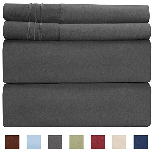 CGK Unlimited Extra DEEP Pocket Sheets - Super DEEP Pocket Bed Sheet Set - DEEP Fitted Flat Sheet - DEEP Twin Sheets Dark Grey - Twin Sheets