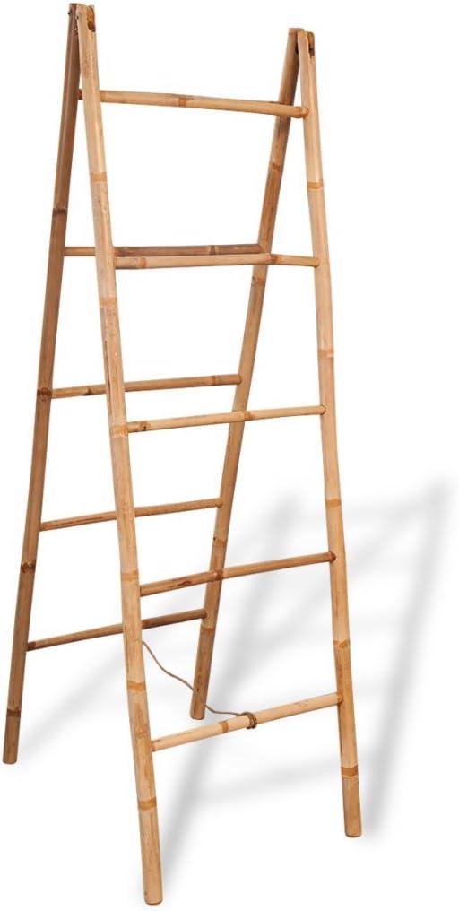 festnight pie escalera – Toallero doble para toalla de bambú con 5 peldaños 50 x 160 cm: Amazon.es: Hogar