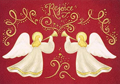 gold foil angels on red designer greetings box of 18 religious christmas cards