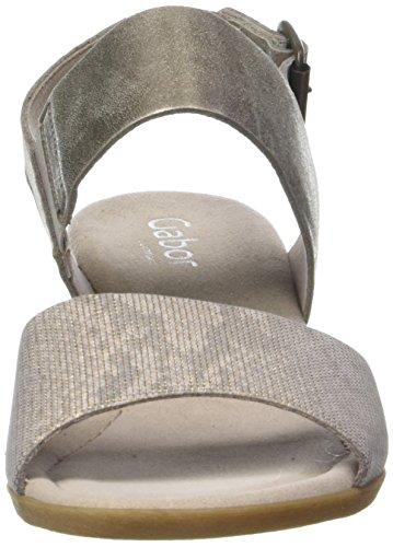 Gabor Shoes Comfort, Sandalias con Cuña para Mujer Beige (leinen/mutaro 15)