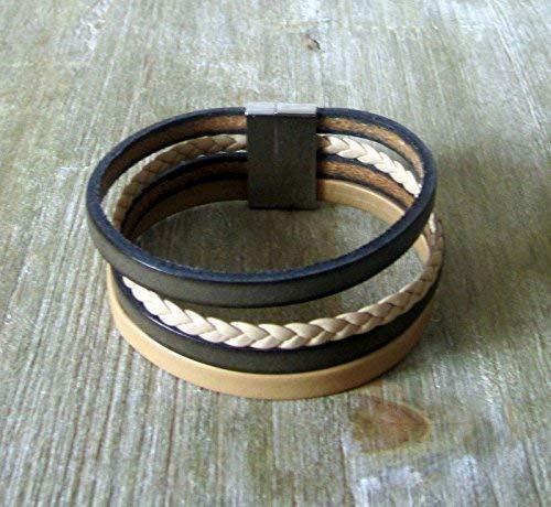 bracelet cuir femme kaki