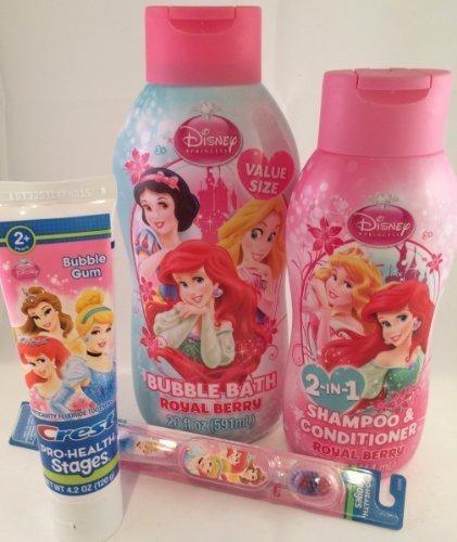 Disney Princess Bath (Disney Princess Beauty Kit: Royal Berry Bubble Bath, 2-in-1 Shampoo & Conditioner, Crest Kids Bubble Gum Toothpaste, & a Disney Princess Toothbrush)