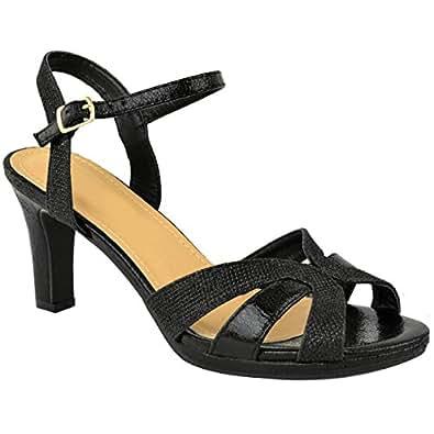 Womens Ladies Mid Block Heel Strappy Sandals Wedding Glitter Bridal Party Size