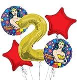 : Wonder Women Balloon Bouquet 2nd Birthday 5 pcs - Party Supplies
