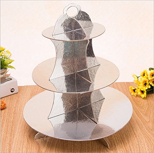 3-tier Cardboard Party Cupcake Display Stand/ Dessert Stand/ Tea Party Pastry Serving Platter/ Food Display Stand-silver