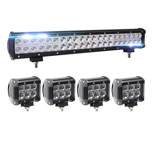 Bangbangche 126W 20 Flood Combo CREE Bar and 4X 4 18W Spot Led Pods Fog Lights, Waterproof Super Bright, Jeep Wrangler Boat Truck Tractor Trailer Off-Road