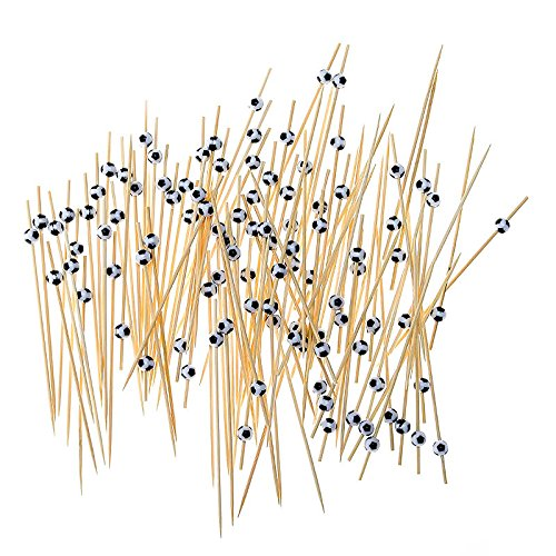 Bamboo Football Fruit Fork Sticks 100Pcs/Set Buffet Cupcake Toppers Cocktail Forks Wedding Toothpick Festive Party Favor