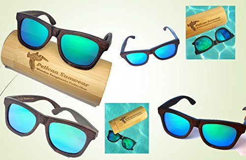 Wooden Polarized Sunglasses - Handmade Solid Real Dumu Wood Wayfarer Style w/Bamboo Case - 100% UV Protection - for Men and Women by Pelican Sunwear (brown, green) by Pelican Sunwear (Image #6)