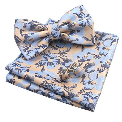 Alizeal Mens Floral Pattern Pre-tied Bow Tie, Hanky and Cufflinks Set, Light Blue+Champagne ()