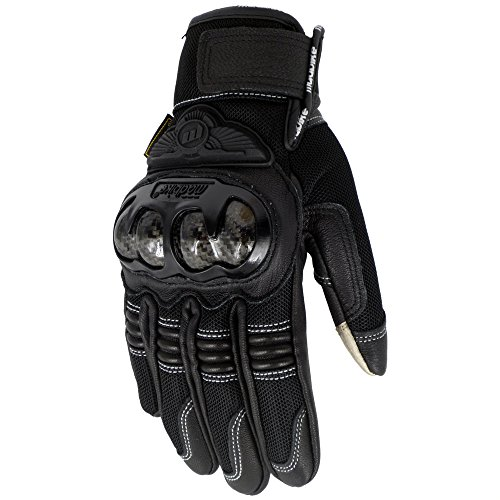 2018 New Mesh+Leather Motorcycle Riding Gloves Carbon Fiber Knuckle Summer Smart (XXL)