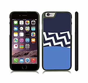 iStar Cases? iPhone 6 Case with Chevron Pattern Dark Blue/ Baby Blue/ White Stripe , Snap-on Cover, Hard Carrying Case (Black)