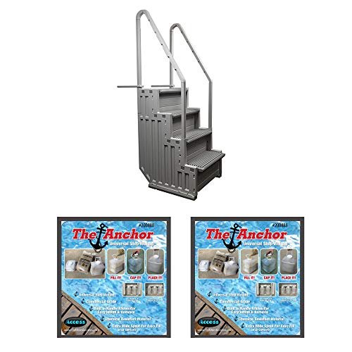 NEW CONFER STEP-1 Above Ground Pool Ladder Step System Entry with 2 Sand Weights