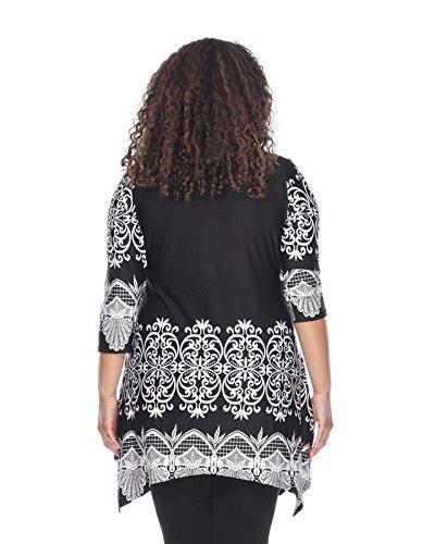 White Mark Womens Shell Damask Print Tunic Top