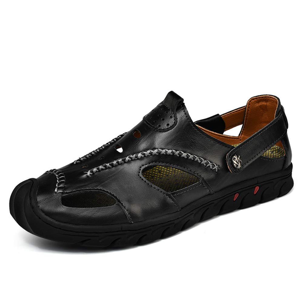Ywqwdae Männer Closed Toe Echtem Leder Sandalen Weiche Sohle Atmungsaktive Braun, Rutschfeste Schuhe (Farbe : Braun, Atmungsaktive Größe : EU 46) Schwarz 38b2e6