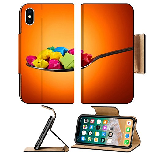 Luxlady Premium Apple iPhone X Flip Pu Leather Wallet Case IMAGE ID: 27154013 Paper stars in silver spoon on orange background
