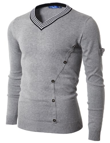 Doublju Mens Fashionable Pull On Slim Fit Long Sleeve V-Neck Plus Size Sweater GRAY,(US XL)