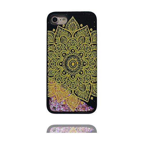 iPhone 6 Plus Custodia, Bling Glitter ultra sottile / Case iPhone 6s Plus Copertura / Shock Dust Resistant Shell iPhone 6 Plus Cover 5.5 & tappi antipolvere / fiore Nero 3