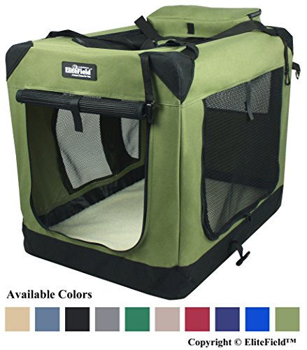 EliteField 3-Door Folding Soft Dog Crate, Indoor & Outdoor Pet Home, Multiple Sizes and Colors Available (36
