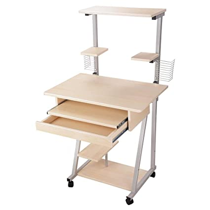 Surprising Mobile Compact Computer Desk Tower Printer Shelf Laptop W Drawer Shelves Rolling Keyboard Tray For Home Office Workstations Table Study Download Free Architecture Designs Scobabritishbridgeorg