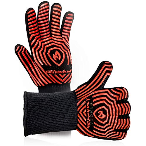 Professional Oven Mitts Kitchen Bbq Gloves - Extreme Heat Resistant With Silicone And Flexibility Super Soft Cotton - Multi Functional - 1 Pairs 1 Size Fits All - - Bbq Oven