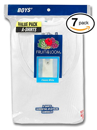 Fruit of the Loom Boys' Cotton Tank Top Undershirt (Multipack) (White Pack of 7 A-Shirts, -
