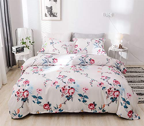 Cotexture 3-Piece Duvet Cover Set Queen Ultra Soft Simple Style Bedding Set Microfiber Floral Printed Lightweight Comforter Quilt Cover for Bedroom Country Roses on White (1 Duvet Cover+2 Pillowcases) (Set Country Duvet Covers)
