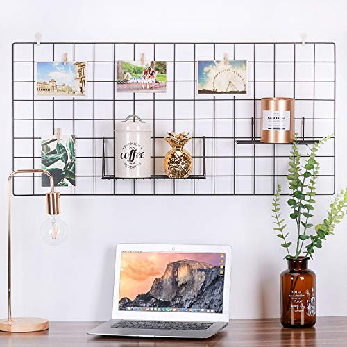 - Kufox Wire Wall Grid Panel, Wire Photo Hanging Display and Wall Storage Organizer, 10 Clips and 4 Nails Offered, Set of 1, Size 17.7