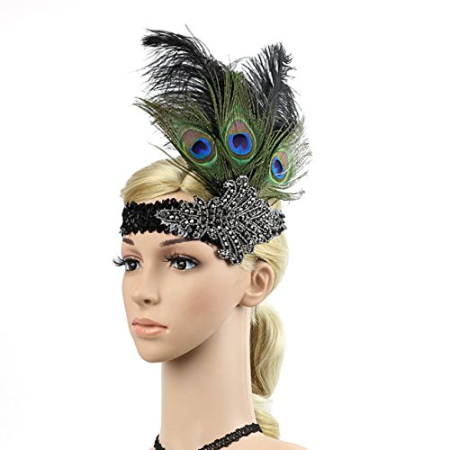 Women's Peacock Feather Headwear Fascinator Hairpin Rhinestones Headband