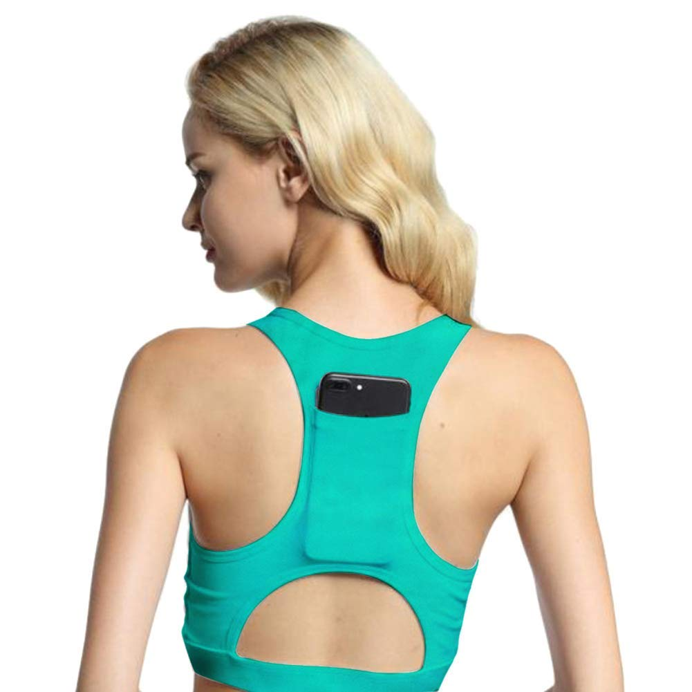 Dastrues Women Sports Bra Back Phone Pocket Racerback Wireless Shockproof Yoga Gym Bra