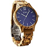 JORD Wooden Wrist Watches for Men or Women - Frankie Minimalist Series / Wood Watch Band / Wood Bezel / Analog Quartz Movement - Includes Wood Watch Box (Zebrawood & Navy)