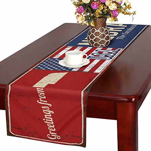 (InterestPrint Greetings from Nebraska Rusty Metal Sign with American Flag Table Runner Cotton Linen Home Decor for Wedding Party Banquet Decoration 16 x 72 Inches)