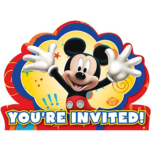 8-Count Mickey Invitations with Sticker (Mickey Mouse Shaped Paper Plates)