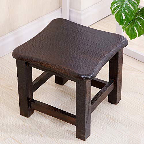 OTTOMAN&STOOLL Stool Solid Wood Small Footrest Stool Bench, Wooden Small Plain Stool Child Kids Changing Shoes Stool Teak Shower Bench-C 28x28cm(11x11inch)